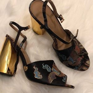 ASOS tapestry ankle strap gold mirror block heels